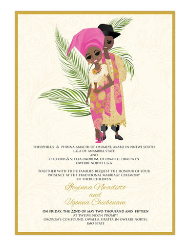 Love Nwan tin tin Nigerian Igbo Traditional Wedding Invitation