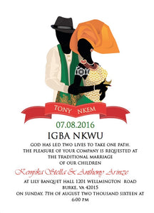 Kpa Kpa Ndo'm Igbo Tradtional Wedding Invitation