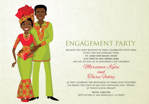 No One Like You Liberian Traditional Wedding Invitation