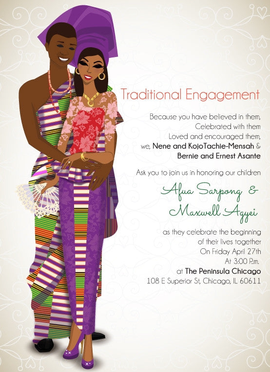 Obi Ate Meso Bo Ghanaian Traditional Wedding Invitation