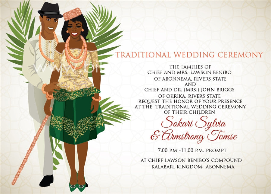 This Love Na Helele Nigerian Kalabari Traditional Wedding Invitation