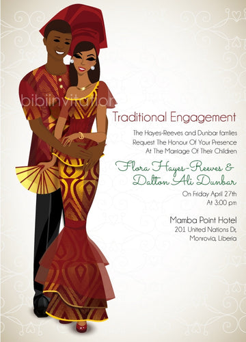 Fine Fine Love Liberian Traditional Wedding Invitation