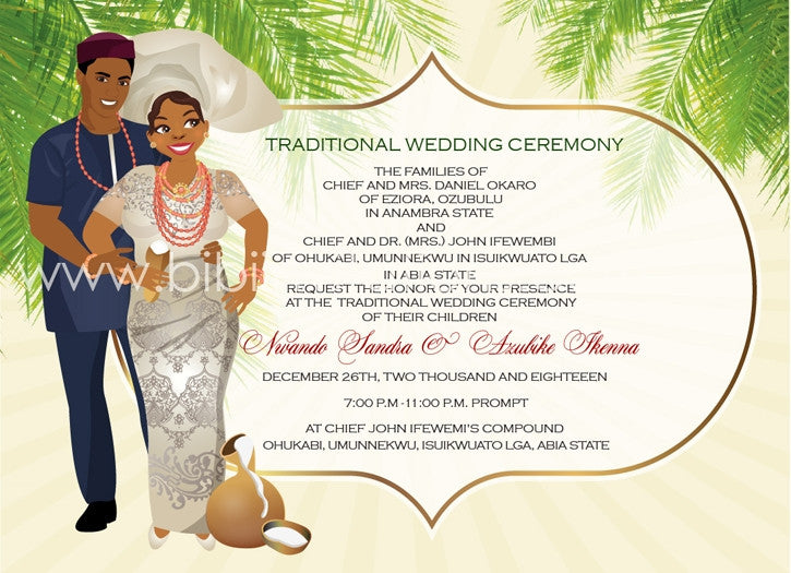 Asampete Igbo Nigerian Traditional Wedding Invitation