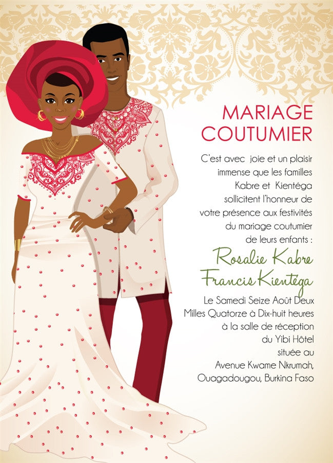 Mon chou Burkina Faso Traditional Wedding Invitation