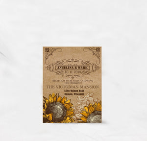 VINTAGE SUNFLOWER WEDDING INVITATION OPTION 2