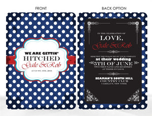 VINTAGE POLKA DOT WEDDING INVITATION