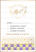 Load image into Gallery viewer, Kente DIY Template Wedding Invitation RSVP