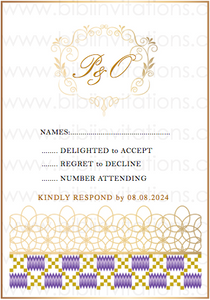 Kente DIY Template Wedding Invitation RSVP