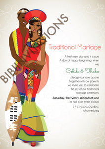 Bekebeke Zulu South African Traditional Wedding Invitation