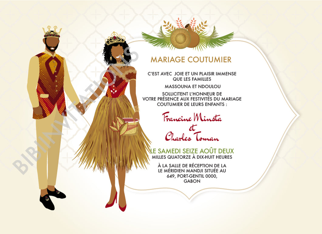 Belle - Fang Gabon Traditional Wedding Invitation