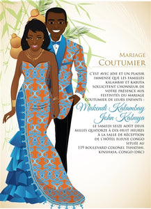 Mon Coeur Congo Traditional Wedding Invitation