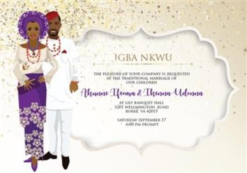 Ada Ada Nigerian Igbo Traditional Wedding Invitation