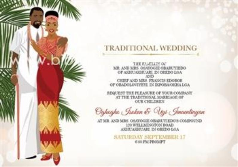 Ekponmwen Nigerian Benin Edo Traditional Wedding Invitation