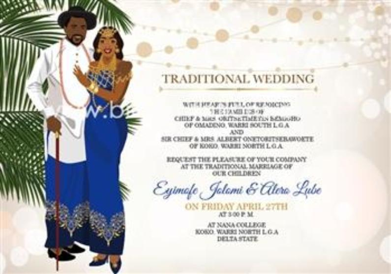 Urowoli Nigerian Itsekiri Traditional Wedding Invitation