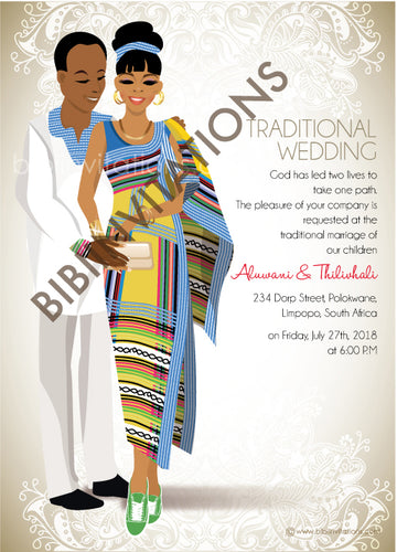 Funanani Venda South African Traditional Wedding Invitation