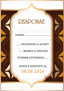 Bogolan Mudcloth Eritrean Ethiopian DIY Template Wedding Invitation RSVP