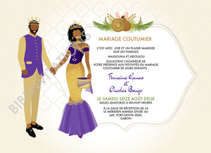 Joie - Teke Gabon Traditional Wedding Invitation