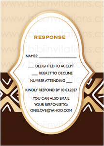 Bogolan Mudcloth Kuba DIY Template Wedding Invitation