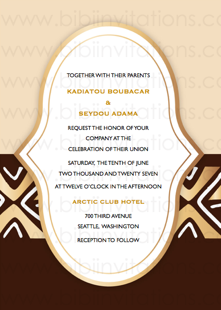 Bogola Mudcloth  DIY Template Wedding Invitation