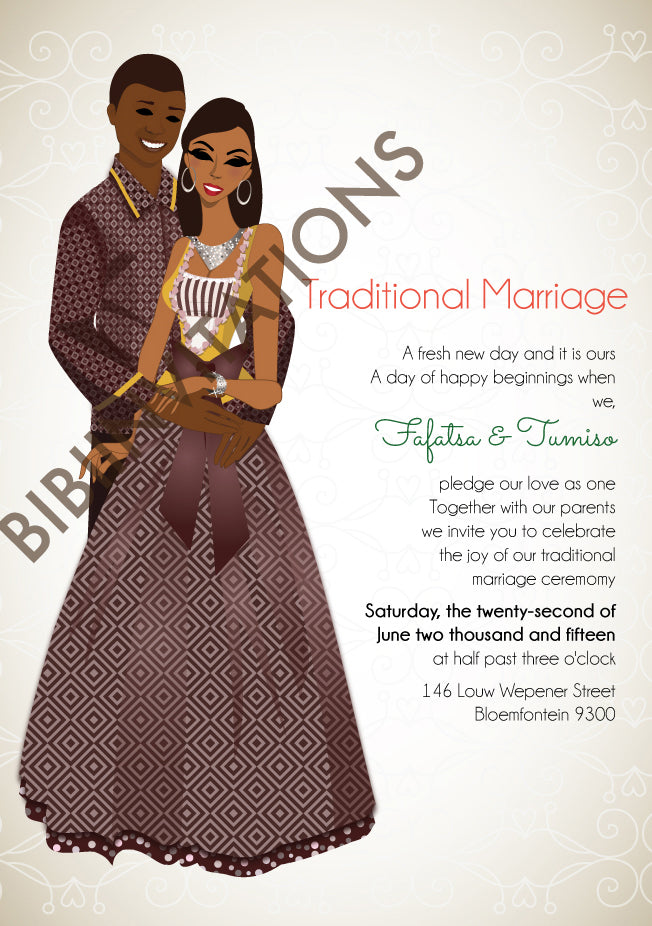 Lerato Sotho South African Traditional Wedding Invitation