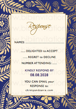 Load image into Gallery viewer,  DIY Template Wedding Invitation  Blue and Gold