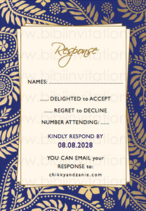 DIY Template Wedding Invitation  Blue and Gold