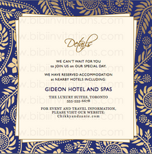 Load image into Gallery viewer,  Blue and Gold DIY Template Wedding Invitation