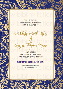 Blue and Gold DIY Template Wedding Invitation