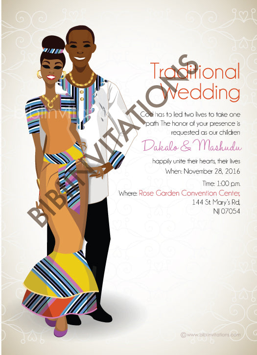 Lufuno Venda South African Traditional Wedding Invitation