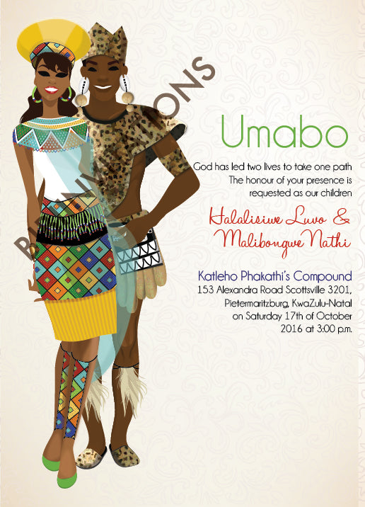 Mbali Zulu South African Traditional Wedding Invitation