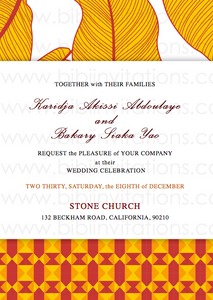 Floral Orange and Red DIY Downloadable Template Wedding Invitation