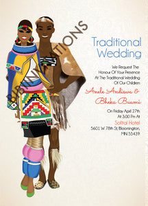 Ngiyakuthanda Ndebele South African Traditional Wedding Invitation