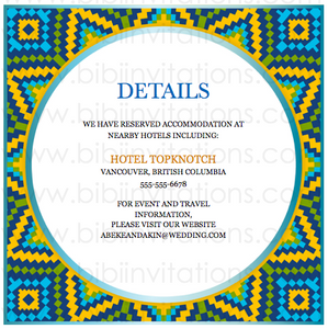 Geometric - blue and Yellow DIY Downloadable Template Wedding Invitation