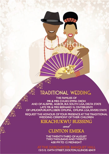 Happiness Nigerian Delta Traditional Wedding Invitation