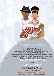 Happiness-Silver Nigerian Delta Traditional Wedding Invitation