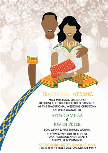 Woma m'ani gye Ghana Traditional Wedding Invitation
