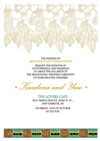 Nyame-ama Ghana Traditional Wedding Invitation