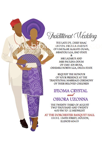 Adaeze-Purple Igbo Traditional Wedding Invitation