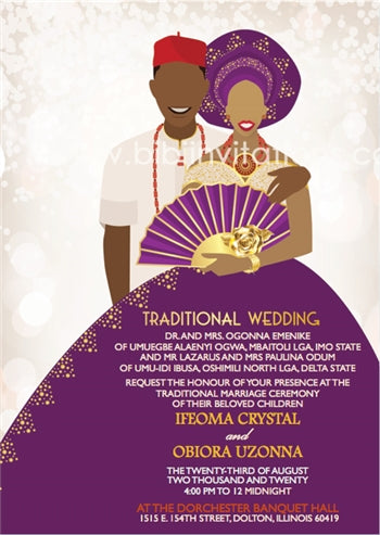 Nwunye Oma Nigerian Igbo Traditional Wedding Invitation