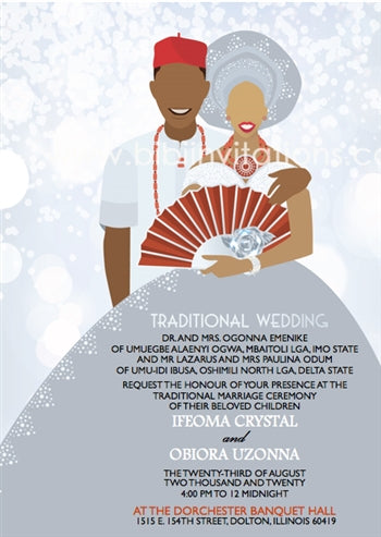 Nwunye Oma-Silver Nigerian Igbo Traditional Wedding Invitation