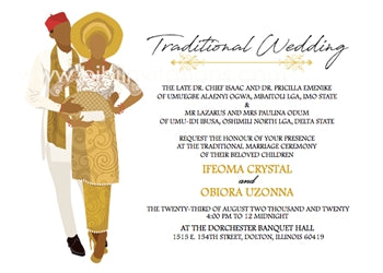 Adaeze-Gold Igbo Traditional Wedding Invitation