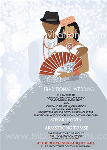 Belema-Silver Nigerian Kalabari Traditional Wedding Invitation