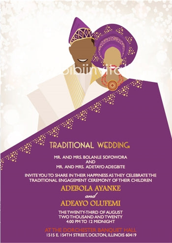 Olori Nigerian Yoruba Traditional Wedding Invitation