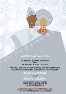 Olori-Silver Nigerian Yoruba Traditional Wedding Invitation