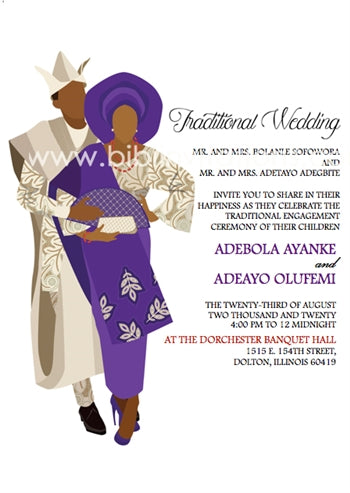 Aya Mi-Purple Yoruba Traditional Wedding Invitation
