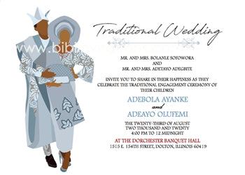 Aya Mi-Silver Yoruba Traditional Wedding Invitation