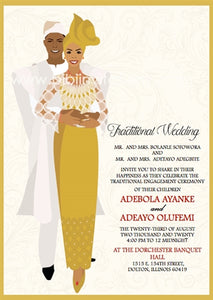 Arewa Nigerian Yoruba Traditional Wedding Invitation