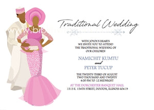 True Love-Pink Hausa Traditional Wedding Invitation