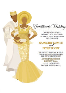 True Love-Gold Hausa Traditional Wedding Invitation