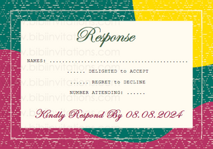 Red, Yellow and Green DIY Downloadable Template Wedding Invitation RSVP